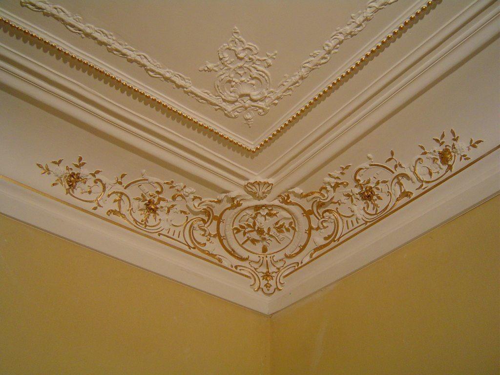 Plafond décoratif peinture dorée